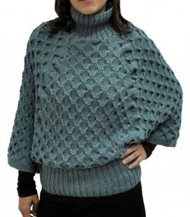 Doppelseitiger Poncho-Pullover mit Wabenmuster - Alpakawolle